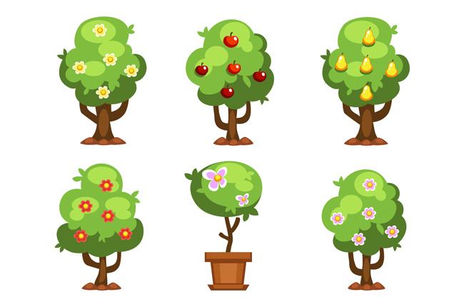 绿色植物花卉树木盆景造型设计素材_漫品购_mg动画_源