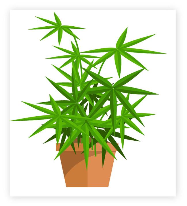 绿色小盆景造型设计矢量素材下载  扁平植物造型设计素材下载