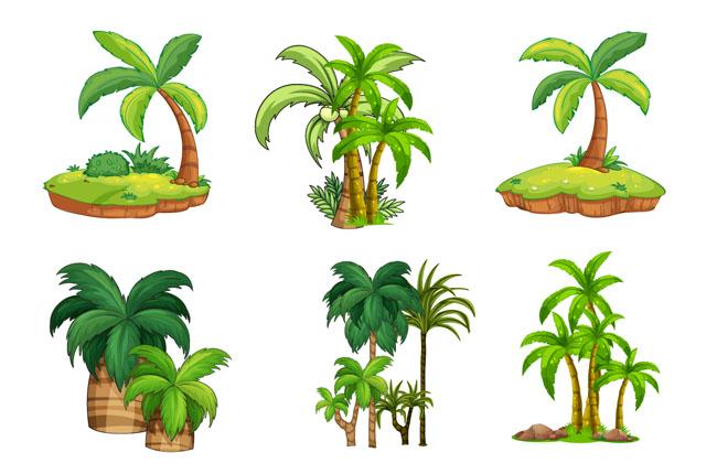 手绘精致的海岛植物树木造型设计素材图片