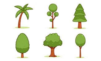 矢量手绘植物造型图案设