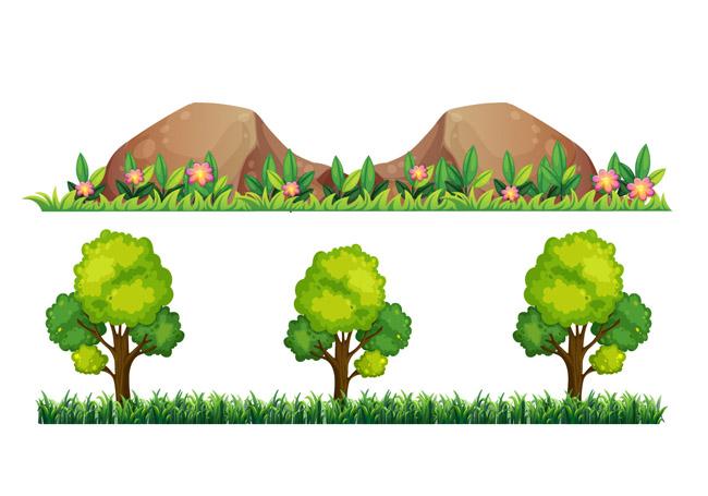 绿色树带的植物树木造型设计矢量素材_漫品购_mg动画