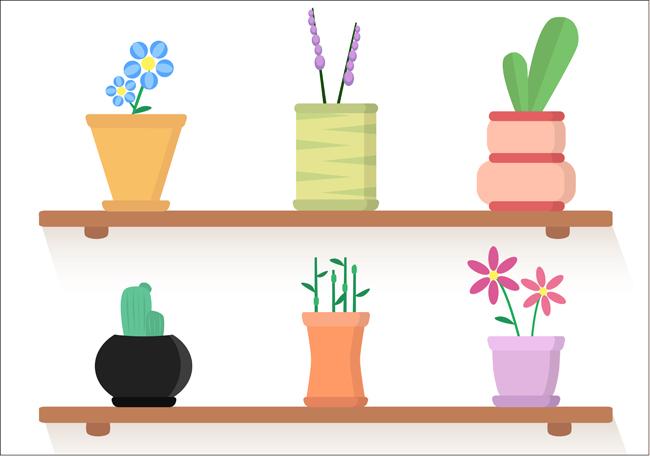 扁平化室内植物花卉小盆景素材下载