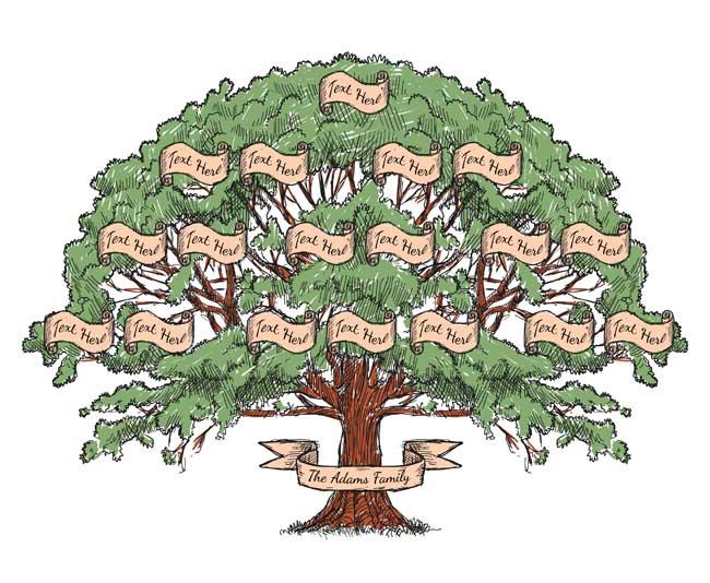 创意手绘金钱大树组合的背景设计素材