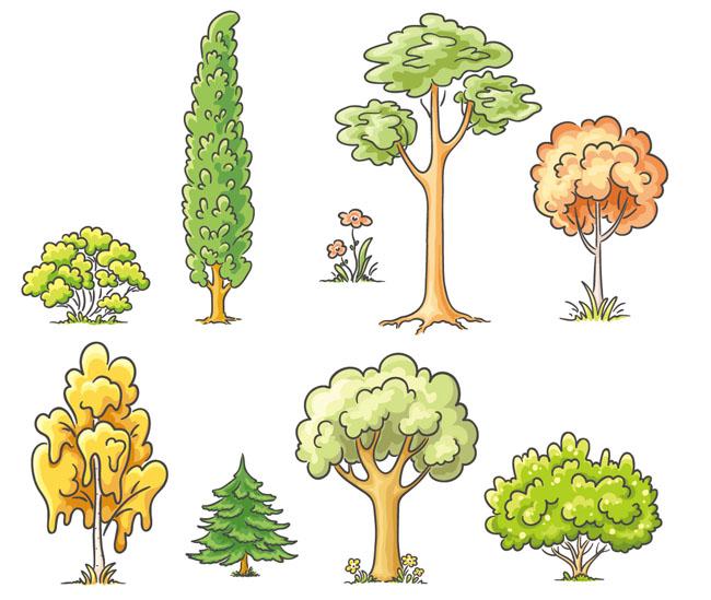手绘卡通大树插画  手绘树木  绿色  树手绘造型设计矢量素材下载