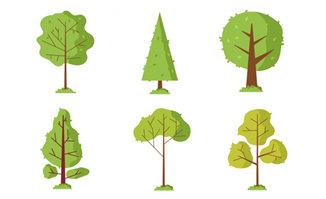 卡通简易画绿色树木造型