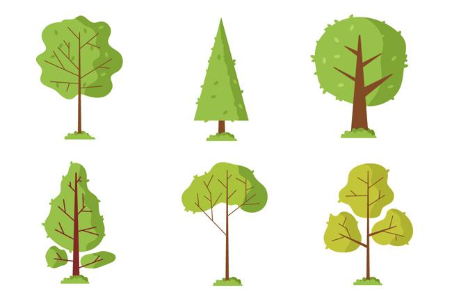 手绘卡通矢量树木素材  手绘卡通简单色彩的大树造型设计矢量素材