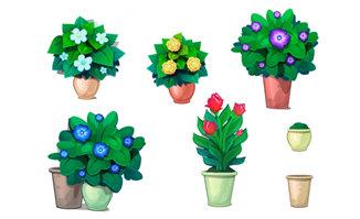 手绘绿色花卉植物盆景造