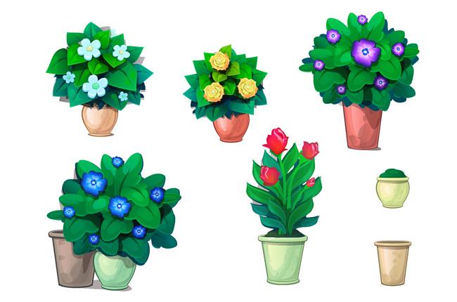 手绘绿色花卉植物盆景造型设计素材