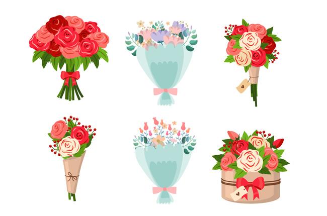 手绘情人节玫瑰花花束素材  手绘卡通花卉  鲜花