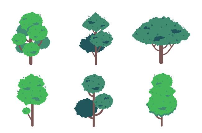 绿色树木城市绿化带植物造型设计素材_漫品购_mg动画