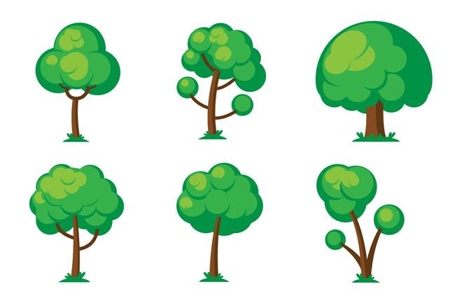 绿色手绘植物大树树木造型设计素材图片