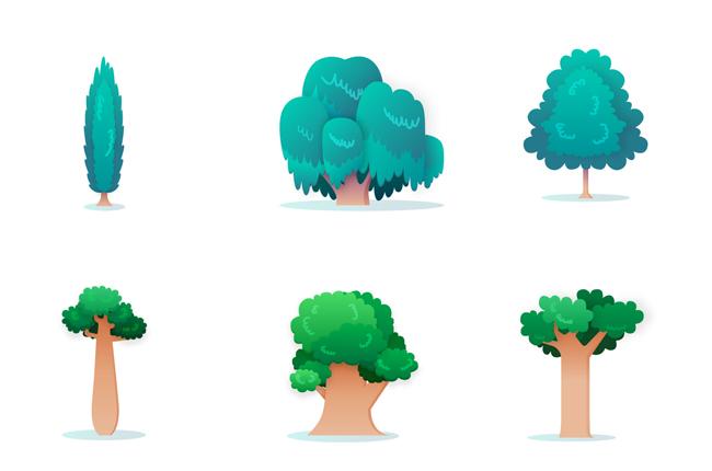 蓝色调的树木树林道具素材下载_漫品购_mg动画短片_源