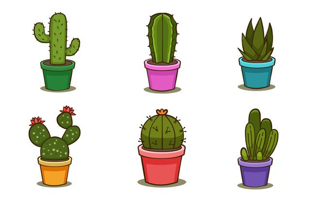 仙人球小盆栽植物图标设计素材 手绘仙人掌插画图片  手绘仙人掌