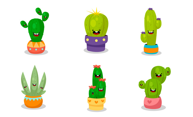 小盆栽仙人掌卡通动漫表情包设计素材 手绘仙人掌矢量创意素材
