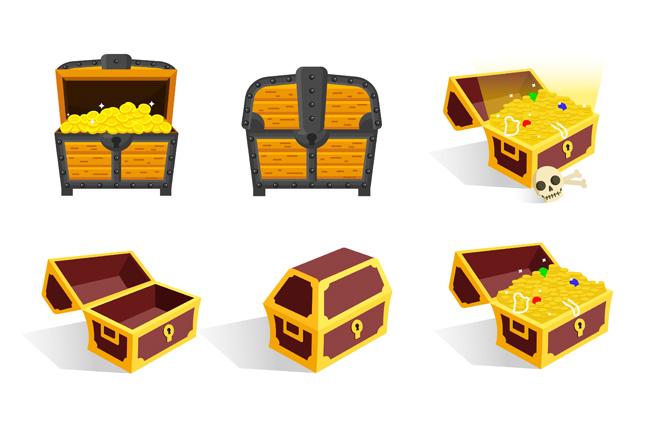 金币宝箱手绘卡通押宝箱造型设计矢量素材