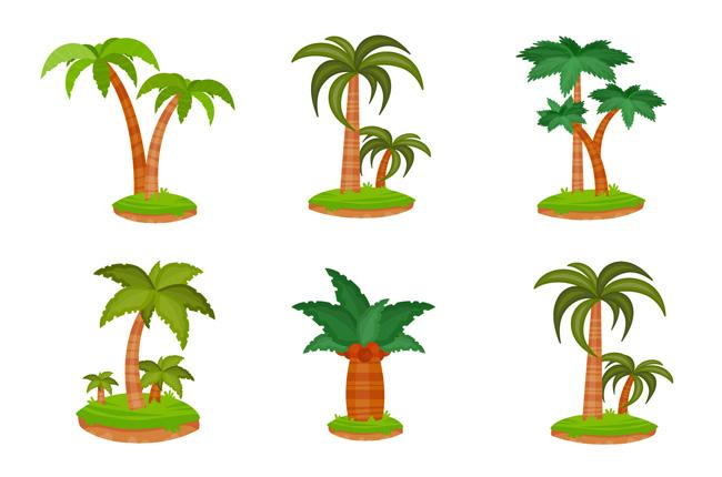 矢量卡通椰汁树植物素材下载
