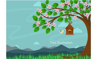 手绘漫画大树是鸟的家园