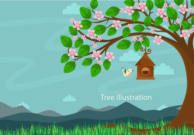 手绘漫画大树是鸟的家园场景设计素材