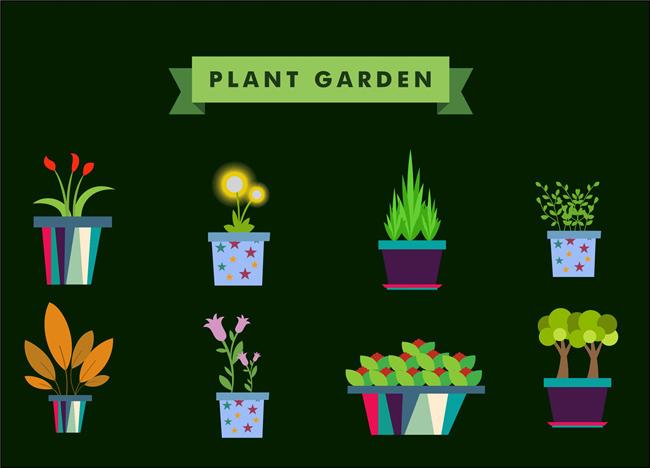 扁平化创意植物小盆景造型设计素材下载