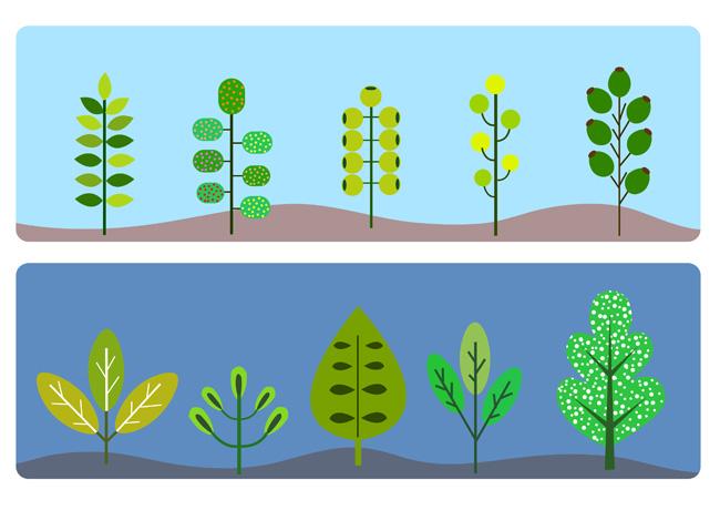 扁平化背景树木插画造型设计树叶素材设计院北海图片