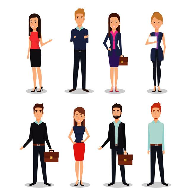 主页 矢量文件 矢量人物 > 8个职业商务人士卡通动漫形象设计素材