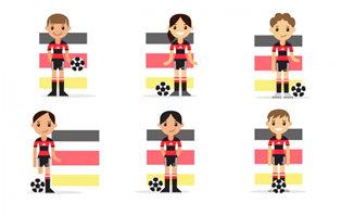 卡通扁平化女足球运动员
