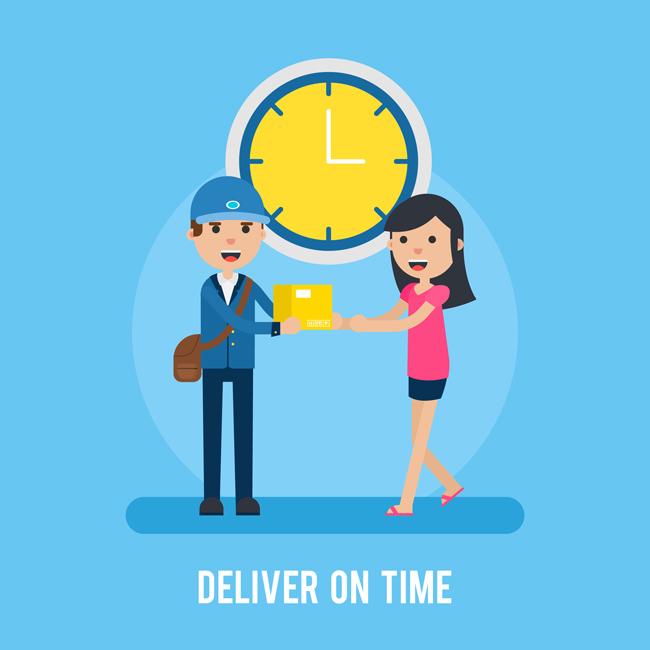 主页 矢量文件 矢量人物 > 扁平化快递员送货准时送达的背景设计素材