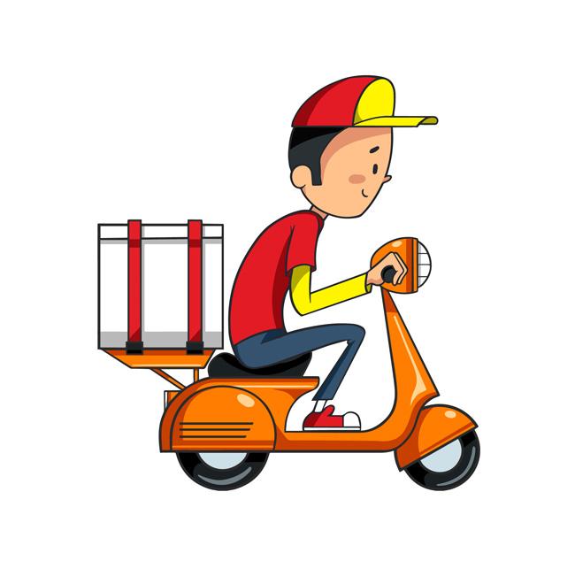 手绘送外卖送快递的工作人员漫画设计  快递外送员矢量素材  骑电瓶