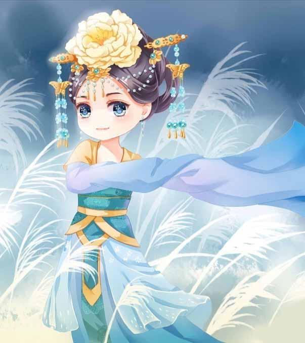 古代美女大眼睛q版动漫背景设计素材  手绘彩色动漫人物  中国背景
