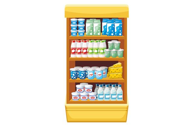 超市美味奶制品矢量图  食品柜  超市货架场景设计矢量素材