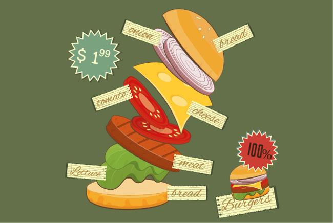 创意动感美食广告海报手绘背景设计