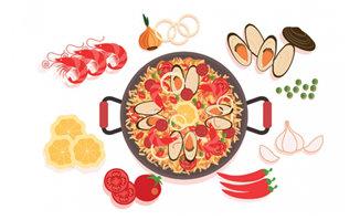 手绘海鲜食物海鲜火锅海报背景设计素材图片