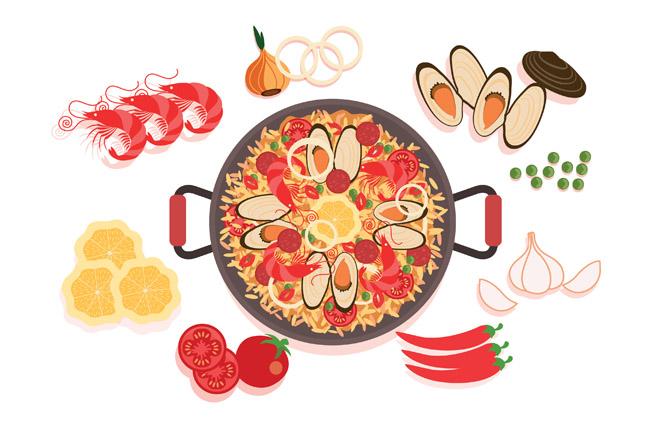 手绘海鲜食物海鲜火锅海报背景设计素材