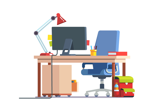 老板办公室场景办公桌台灯动画背景设计素材