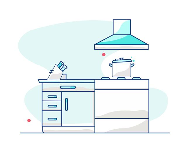 手绘厨房厨柜灶台矢量图   橱柜造型设计  室内装修设计矢量素材下载