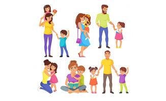 儿童亲子活动中的漫画卡