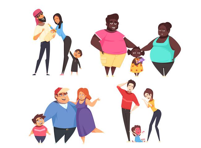 不同肤色的动漫卡通一家人形象设计素材