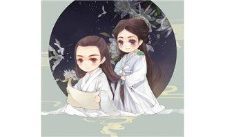 古代情侣手绘漫画中国风格背景图片