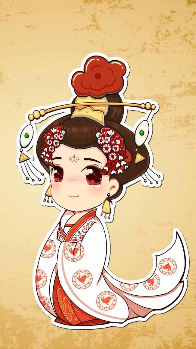 古代美女宫廷宫女手绘漫画背景素材