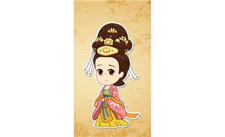 宫女Q版人物漫画设计图片素材