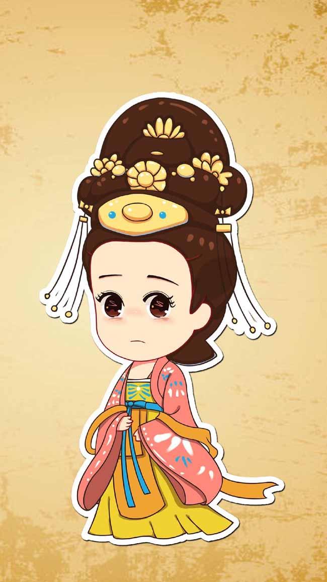 宫女q版人物漫画设计图片素材 手绘漫画古代人物形象设计  q版人物
