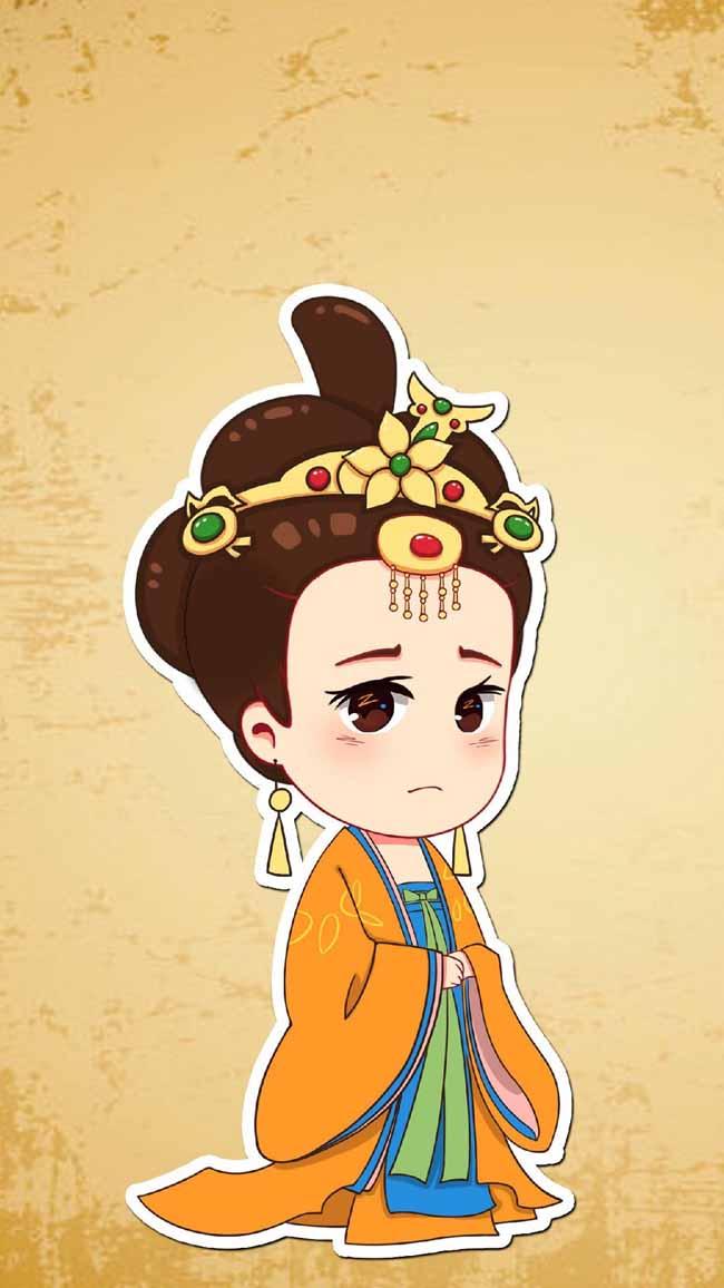 宫女  古装人物  漫画人物形象设计 手绘漫画中国皇宫美女形象图片