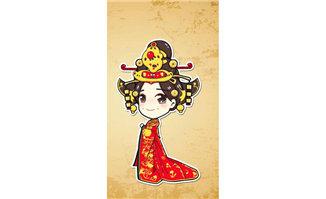 穿红色喜庆衣服的中国风格美女形象漫画