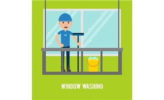 打扫玻璃窗户的保洁工作
