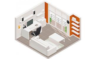 书房立体模型俯视装修效果图素材