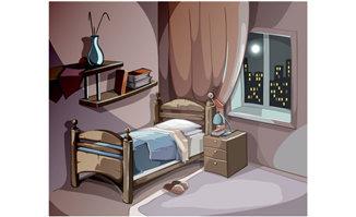手绘二维动画夜晚夜色下的卧室场景