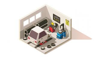 2.5d立体模型的汽车维修店铺场景设计素材
