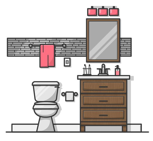 卫生间浴室手绘场景图设计  马桶  柜子  卫生间装修设计素材
