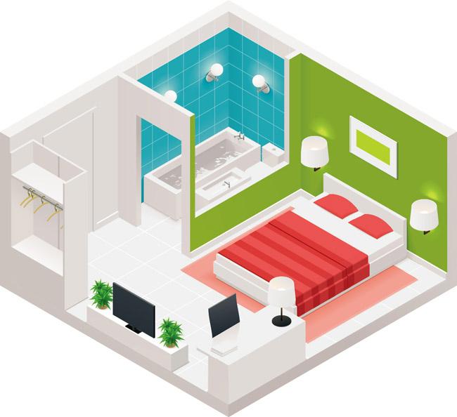 俯视小公寓房间室内装修效果图素材下载