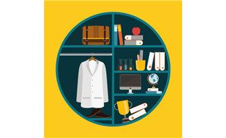 创意圆形扁平化书架与衣